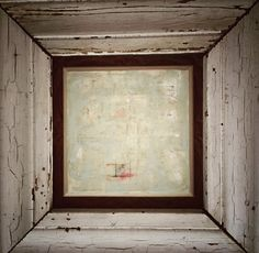 Encaustic by Amy Willcut inside a weathered wooden frame