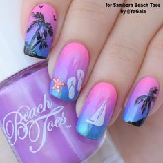 "26.1k Likes, 119 Comments - Galina S. (@yagala) on Instagram: ""Summer nail design ⛵️ I use Sambora Beach Toes in colors: ""Pink Bikini"", ""Lilac Lagoon"",…"""