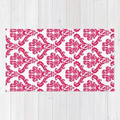DAMASK PINK RED Area & Throw Rug by MY PRETTY HOME | Society6  #red #pink #damask #area #rug #arearug #woven #polyester #pattern #fresh #girlsroom #new #summer #beachhouse #new
