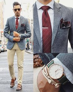 What My Boyfriend Wore — Business time in blue and burgundy! Sunglasses...