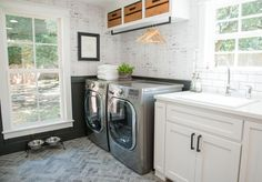 The laundry room/mudroom was previously a workshop, but the Chapmans had more use for it as a laundry room. It ended up being equally practical and pretty.
