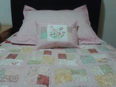 Colcha de jelly roll, capa de travesseiro e almofada - motivo floral