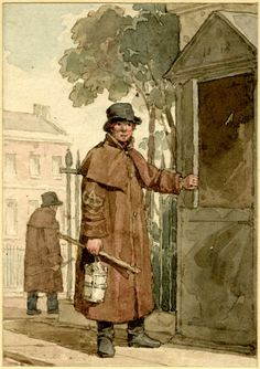A whole length image of a man in a brown coat, lantern in hand, standing beside a watch box