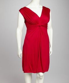 Take a look at this Red Knot Front Dress - Plus by GLAM on #zulily today!