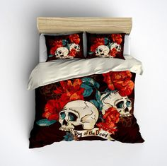 Featherweight Day of the Dead Bedding - Dark Brown Sugar Skull Print on Cream, Comforter Cover, Sugar Skull Duvet Cover, Sugar Skull Bedding