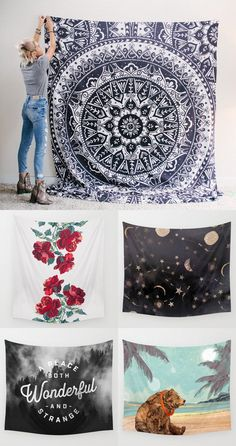 Cover your walls with TAPESTRIES! has TONS of prints to choose from, all designed by independent artists. Dream Rooms, Dream Bedroom, Girls Bedroom, Bedroom Decor, Bedroom Ideas, Teen Bedrooms, Bedroom Inspiration, My New Room, My Room