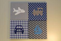 Schilderijtjes auto boot trein vliegtuig blauw grijs | Schilderijtjes stof voertuigen | Roozje