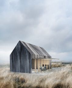 archatlas: Boat House WE Architecture Office The boat house is located on the beach 20 metres from the water edge in the beautiful surroundings at Svallerup Strand, Denmark. The boat house is aimed at being very simple and practical at the same t Architectural Section, Tiny House, Boat House, Modern Barn, Modern Cabins, Modern Farmhouse, Exterior Design, Grey Exterior, Interior Architecture