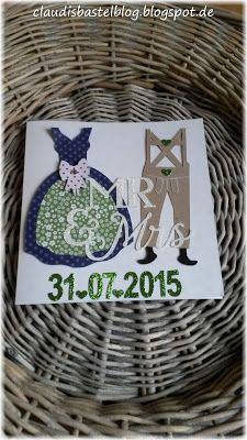 Eine Glückwunschkarte zur Hochzeit...geheiratet wurde im Dirndl und Lederhose...
