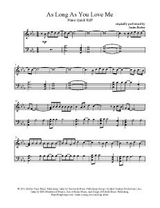 As Long As You Love Me - Justin Bieber. Find more free sheet music at www.PianoBragSongs.com.