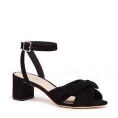 Jill Knotted Block #Heels With Ankle Strap. Knotted block heel sandal with ankle strap in black kid suede 2.2 in. heel and leather sole Fit is true to size.