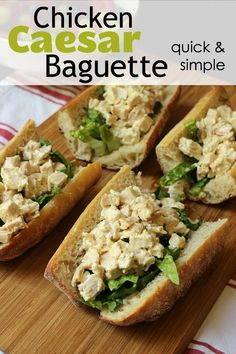 Chicken Caesar Baguette Sandwiches are just what you expect – quick and simple deliciousness tucked into French bread. They are a fun, portable twist on a vintage classic. Easy Baking Recipes, Easy Chicken Recipes, Sweet Recipes, Healthy Chicken, Chicken Caesar Sandwich, Baguette Sandwich, Chicken Curry Salad, Sandwich Recipes, Quesadilla Recipes
