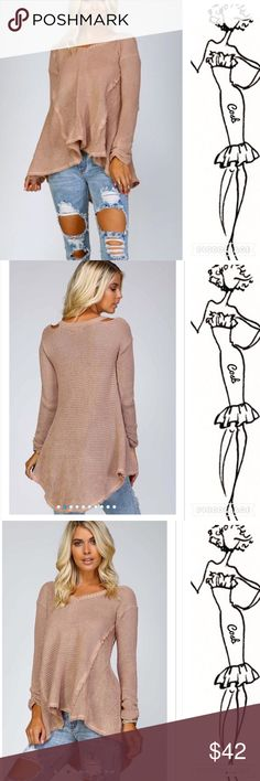 Sneak Peek... Blush Sweater Cute Blush Color Sweater. Sweater has a shorter front & longer back. Has open shoulders with long sleeves. Very full & comfy. Cosb Tops