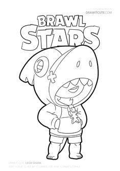 Shark Leon skin from Brawl Stars. Star Coloring Pages, Free Adult Coloring Pages, Printable Coloring Pages, Coloring Books, Blow Stars, Marshmello Wallpapers, Black Paper Drawing, Skin Drawing, New Shark