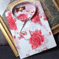 Mens Red Floral Vintage Victorian Dress Shirts for Wedding Prom SKU-142003