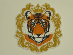 Extra Large Embroidered Applique Patch, Regal Tiger in Baroque Style, Jacket Patch, Home Decor, Bike Biker Patches, Sew On Patches, Iron On Patches, Jacket Patches, Tiger Tattoo Design, Fierce Animals, Wild Tiger, Japanese Patterns, Japanese Embroidery