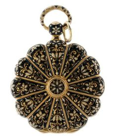 Rare and unusual 18k yellow gold Leroy open face pocket watch with a flower shaped case decorated with black and white enamel. Silver guilloche dial is sign Le Roy with gold Breguet style hands. The highly decorated case has twelve flower petals and is in overall very good condition. The cuvette is signed Le Roy Hger. du Roy Palais Royal n.114. Key wind, key set movement. Winding key not included.