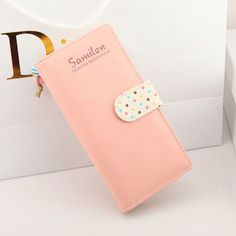 Women 6 Cute Colors Wave Point Clutch Long Hasp Card Coin Purse Leather Wallet #Handmade #Clutch