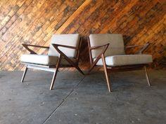 Mid Century Selig Style Walnut Chairs
