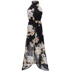 Women Sleeveless Halter Neck Floral Printed Chiffon Maxi Dress Split... (531 145 AUD) ❤ liked on Polyvore featuring dresses, chiffon maxi dress, floral print maxi dress, long dresses, halter neck maxi dress and long maxi dresses