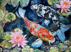Koi Pond Art - Koi With Water Lilies by Tanya Jacobsz