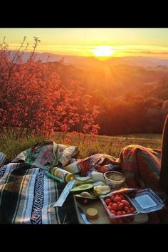 Picnic date with chocolate covered strawberries, whole wheat turkey spinach sandwiches, lots of fresh fruits and veggies and the sunset = absolutely perfection