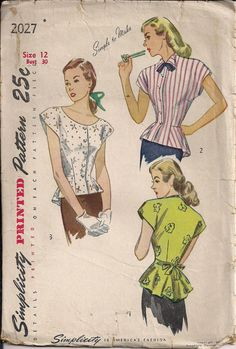 I adore peplum!  Where have they been all my life?    Sweet 40s blouse with peplum sewing pattern by HoneymoonBus, $9.99