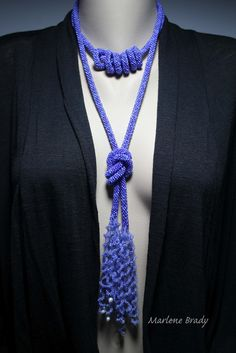 """Marlene Brady. """"Wearing Bead Crochet"""" Long lariat doubled and knotted."""