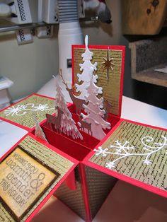 pop up box xmas tree card Boxed Christmas Cards, Xmas Cards, Holiday Cards, Diy Cards, Christmas Pops, Christmas Makes, Christmas Crafts, Card In A Box, Pop Up Box Cards