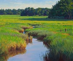 """Sam Vokey, """"Deep in the Marsh,"""" oil/linen, 20 x 24 - Available at Powers Gallery in Acton, MA Landscape Photos, Landscape Art, Landscape Paintings, Seascape Art, Seen, Beautiful Paintings, Art Oil, Watercolor Art, Marie"""