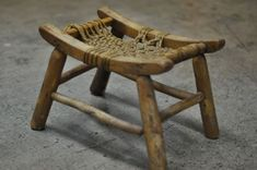 Little wooden stool with sturdy rope top from Etsy seller ACES Finds