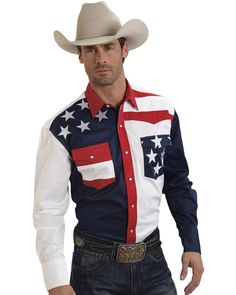 Roper Americana Collection Men's Stars and Stripes Print Long Sleeve Western Shirt, Patriotic