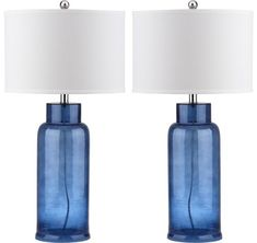 Safavieh Indoor Blue Bottle Glass Table Lamp (Set of - Overstock™ Shopping - Big Discounts on Safavieh Lamp Sets Silver Table Lamps, Standard Lamps, Table Lamp Sets, Mason Jar Lamp, Drum Shade, Glass Table, Glass Design, Glass Bottles, Bottle Lamps
