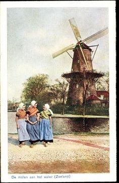 Postcard Zeeland,♥ De molen aan het water, Trachten, Windmühle