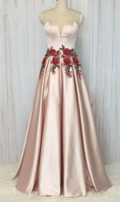 Embroidery Lace Prom Dresses Long Pink Elegant