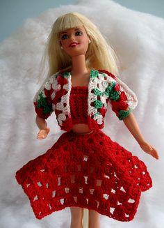 3 piece Barbie crochet pattern for sale on Etsy at WalltoWallCrafts