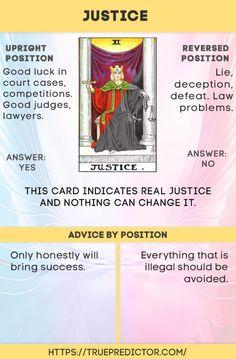The Justice tarot card meaning and interpretation — True prediction Tarot Interpretation, Justice Tarot, Tarot Cards For Beginners, Tarot Card Meanings, Meaning Of Tarot Cards, Tarot Card Spreads, Tarot Astrology, Tarot Major Arcana, Tarot Decks