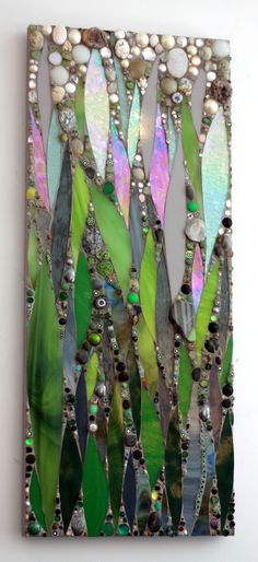 """Water Lilies Emerge"".  Original #mosaic #art panel by Ariel Finelt Shoemaker.  Dimensions are 21"" x 36"". Inquiries for custom commissions or pricing welcome.  More works at http://www.mosaicsbyariel.com.  All rights reserved, Ariel Finelt Shoemaker, 2013.  Love the between bits!"