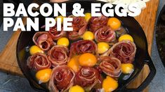 Bacon and Eggs Pan Pie An easy recipe is on the menu at the Pit. It's the perfect meal for the camp, or a Sunday feast. For some real good eating, you have to check this recipe out. With a few adjustments can be made keto friendly. Bacon Pan, Bbq Bacon, Egg Recipes, Brunch Recipes, Breakfast Recipes, Bacon Recipes, Breakfast Ideas, Skillet Recipes, Recipies