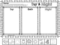 """Bring the outside into your classroom with this Day and Night unit! It includes real pictures of objects and activities seen during the day and night to sort, """"My Day and Night Observation Journal,"""" sorting activities, printables, and science notebook pages! $ #dayandnight #objectsinthesky"""