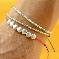 7 Discs Sterling silver friendship cord bracelet