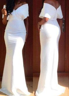 White V Back Off the Shoulder Maxi Dress