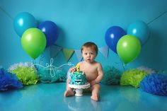 Disney's Monsters Inc. Themed Smash Cake Session | Monsters Inc First Birthday Party Ideas | CT Smash Cake Photographer Elizabeth…