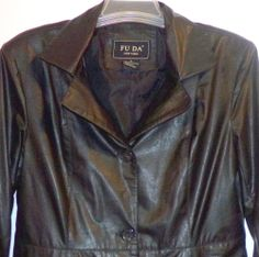 Womens Size Large Classic Black Faux Leather Jacket Fully Lined FU DA New York