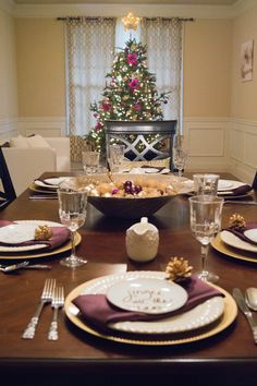 2016 Christmas Home Tour Dining Room and Living Room