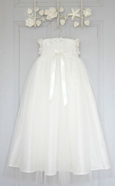 56fc4b00a65 Stunning Luisa Christening gown made from silk and lace with a tulle  overskirt. #christeninggown. Adore Baby