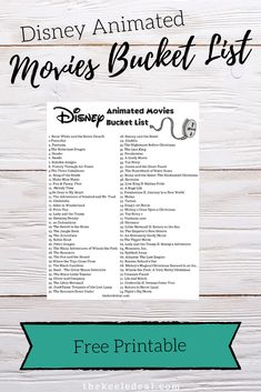 Have you ever wanted to watch all the Disney Movies? Get your free printable Animated Disney Movies Bucket List and have fun trying to watch them all. Family Movie Night, Family Movies, Classic Disney Movies List, Marvel Movies List, Disney List, Disney Animated Movies, Movie Blog, Disney Vacation Planning, Disney World Tips And Tricks