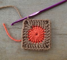 Stitch of Love: Dotty Solid Granny Squares 20dc *(2dc, ch2, 2dc), 4dc*  4 times *(2dc, ch2, 2dc), 8dc*  4 times