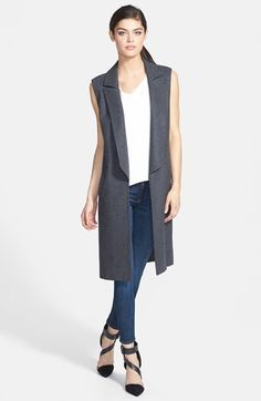 Trouvé Wool Blend Jacket, V-Neck Tank & Hudson Jeans Skinny Jeans What To Wear Fall, How To Wear, Nordstrom, Wool Vest, Sleeveless Jacket, Grey Outfit, Jeans Skinny, Fashion Seasons, Blazer Fashion