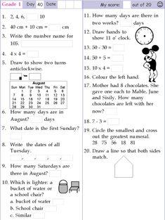 1st Grade Mental Math Sheet 1 | childrens education | Math ...